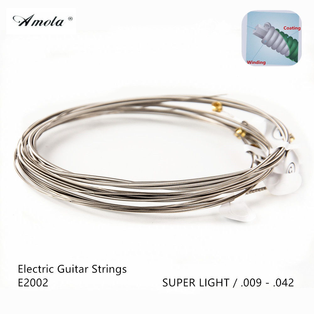 Amola strings E2002 great tone long life 009-042 Custom Super Light Electric Guitar Strings with coating 1 Sets electric guitar strings amola et200 nickel alloy wound nanoweb ulra thin coating steels 009 042 inch super light 3 sets