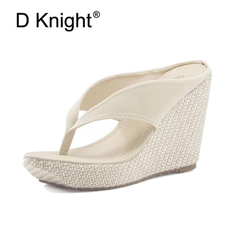 f75d1fbf0ead Hot Sale Women Platform High Heels Wedge Slippers Big Size 33-43 Open Toe Flip  Flops Ladies Casual Open Toe Summer Shoes Sandal