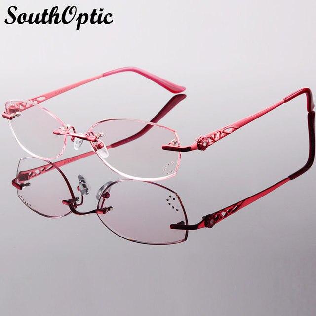 Последние титана очки без оправы корейских женщин оптическая рамка в том числе 1.61 Asphereic тонированные HMC UV400 EMI gafas lectura 8050
