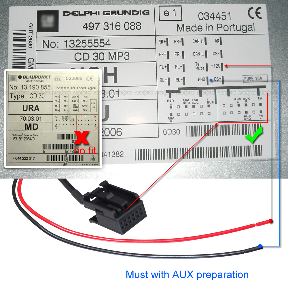 blaupunkt cd30 circuit diagram: car bluetooth module for opel cd30 cd70 radio  stereo aux cable