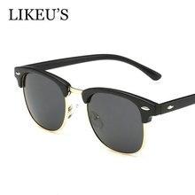 LIKEU S Classic Polarized Sunglasses Men Women Vintage Brand Designer Fashion square Half Frame polarized Sun