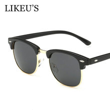 LIKEU'S Classic Polarized Sunglasses Men Women Vintage Brand Designer Fashion square Half Frame polarized Sun Glasses UV400