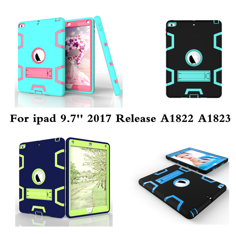 Hybrid Armor Case Kids Safe Shockproof Heavy Duty Silicone Hard Cover With Stand For Apple New Ipad 9.7 2017 Release A1822 A1823 hmsunrise case for apple ipad air 1 kids safe shockproof heavy duty silicone hard cover for ipad 5 case with wrist strap