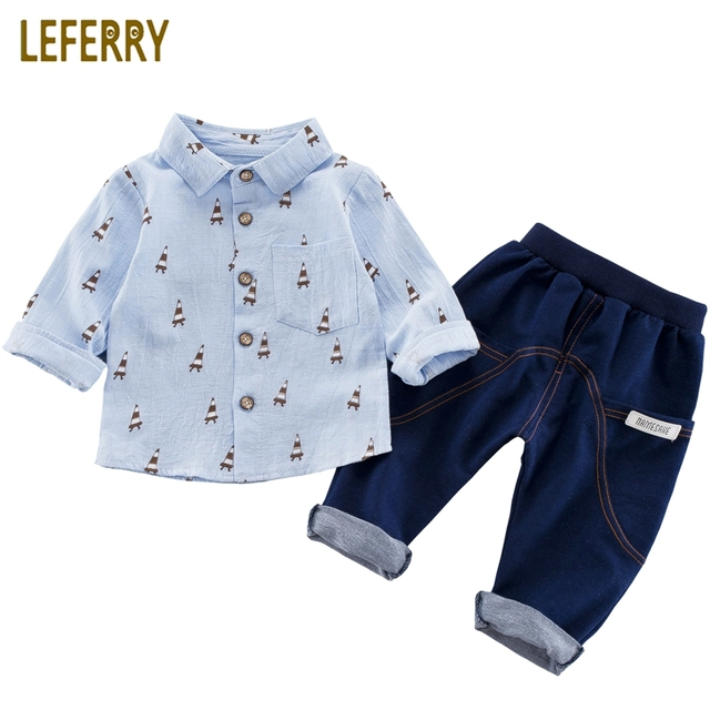 ce414cc25 Kids Clothes Boys 2pcs Long Sleeve Printed Shirt + Imitation Knitted Jeans Toddler  Boys Clothing Children Baby Clothes Fahison