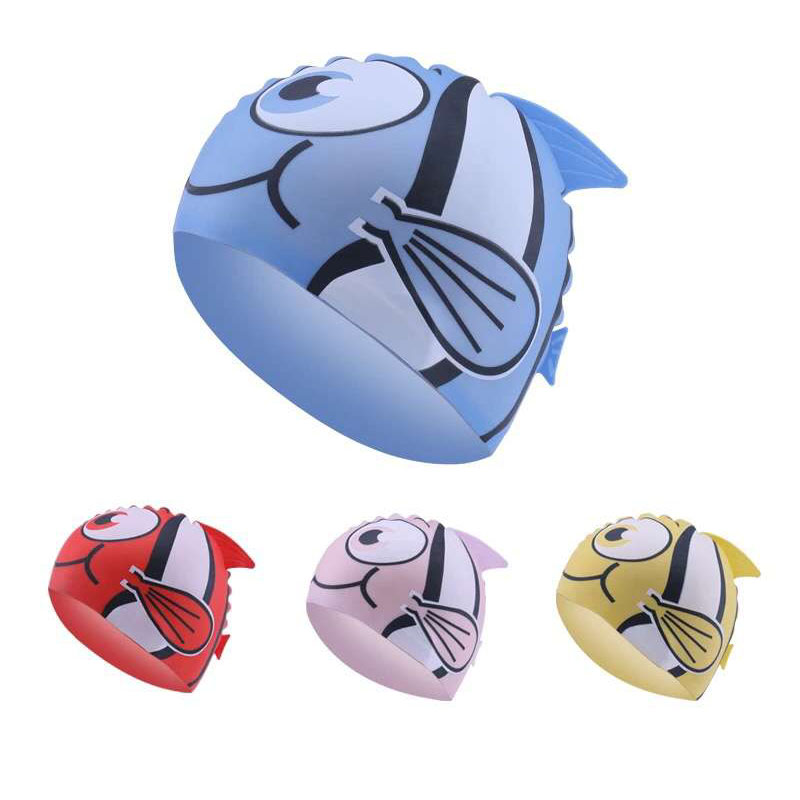 Gorro de natación con protección para la oreja para niños y niñas, impermeable, de silicona, para piscina, peces elásticos, de buceo con dibujos animados