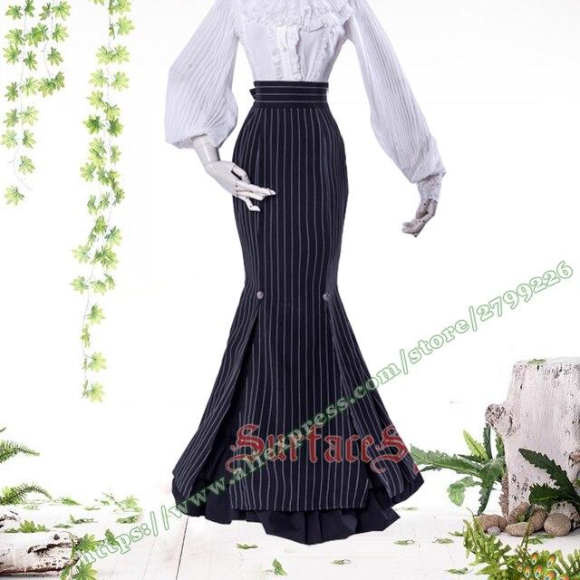 d06ec29368a8 2017 New Cotton Fashion Black Stripe lolita gothic female Long Skirt /  designs Mermaid Fish tail Maxi skirts womens