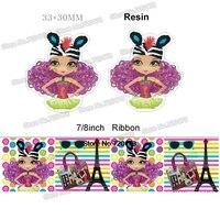 8 styles printed cartoon girl grosgrain ribbon and resin sets 50yard ribbon and 50pcs resin 1Pack JJOB20