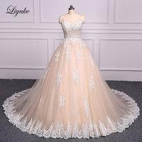 Liyuke J154 High Neck Ball Gown Wedding Dress Appliques Embroidery Floor Length Chapel Train Bridal Dress