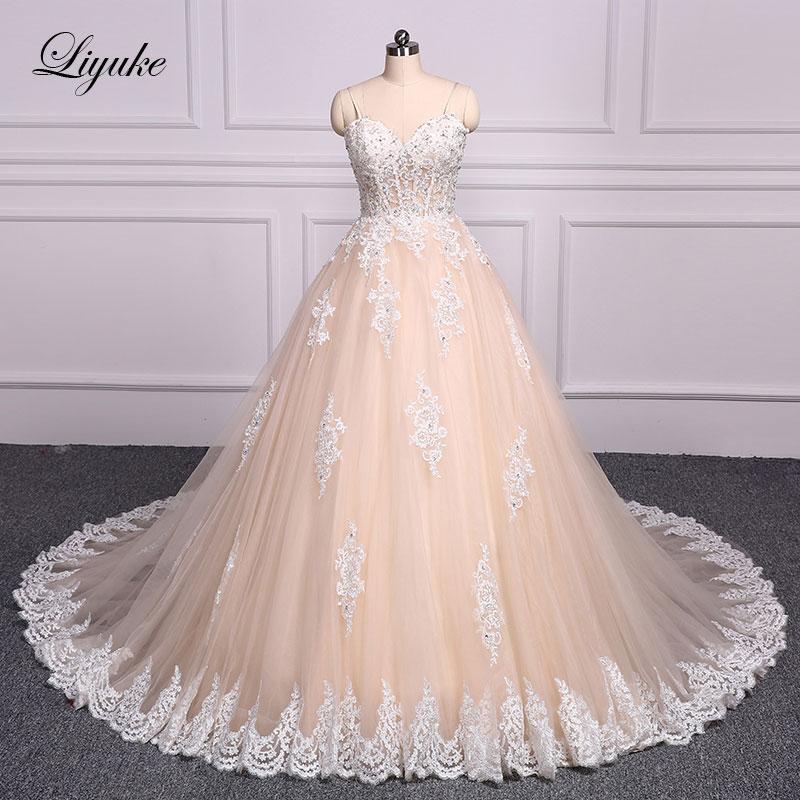 Liyuke Luxury Strapless Champagne Ball Gown Wedding Dress Embroidery ...
