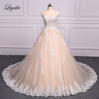 Liyuke Luxury Strapless Champagne Bóng Gown Wedding Dress Thêu Floor-Length Chapel Train Bridal Dress robe de mariage