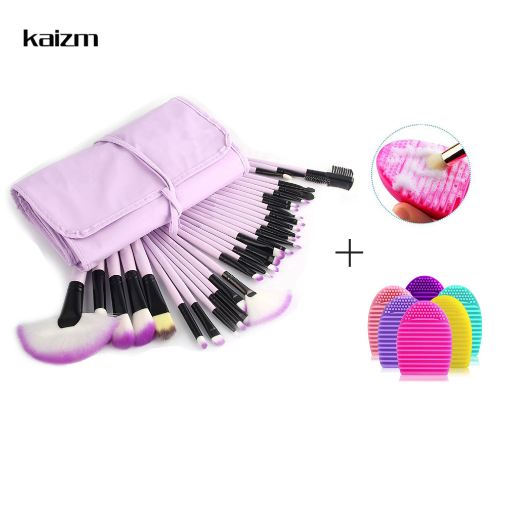 Kaizm 32Pcs Makeup Brush with Brush Cleaner Foundation Blusher Powder Brushes Bag Case pincel maquiagem Wooden Make Up Brushes