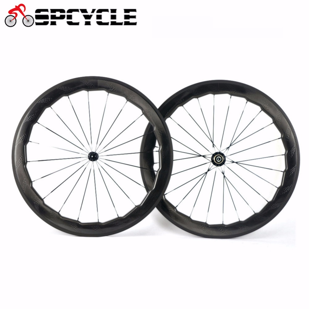 цена Spcycle Road Bike 58mm 454 Dimple Carbon Wheels,Dimple Clincher Tubular Wheels 700C Carbon Road Bicycle Wheelsets 25mm U-Shape