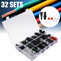 32 sets Waterproof Automotive Electrical Wire Cable Connector 1/2/3/4 Way Male and Female Connectors Plugs Assortment Kit