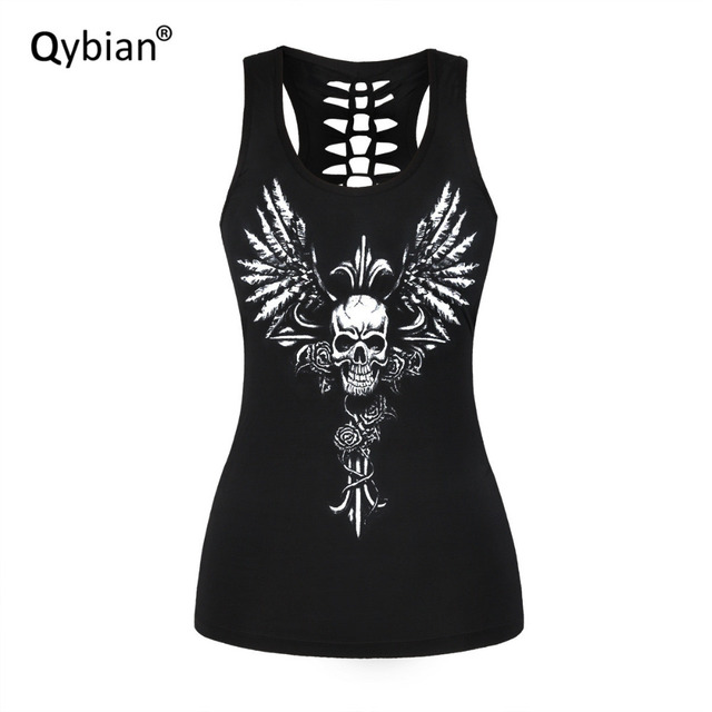bce7fc94140db Women Fashion Charming Girls Stylish Tank top Angel skull Printings  Sleeveless Crew neck Back hollow out. Mouse over to zoom in