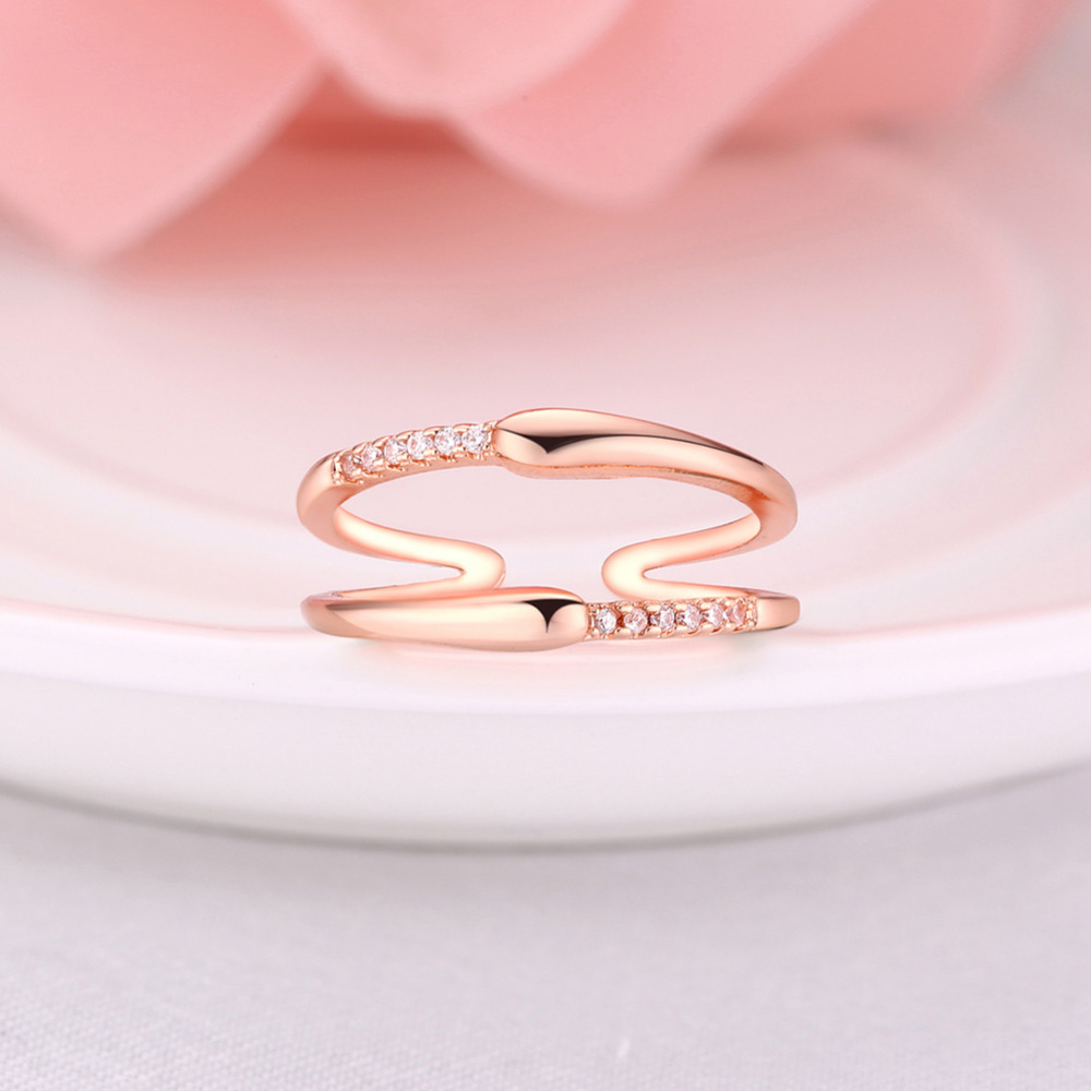 Korean Style Women Casual Charm Rose Gold/silver Crystal Zircon ...