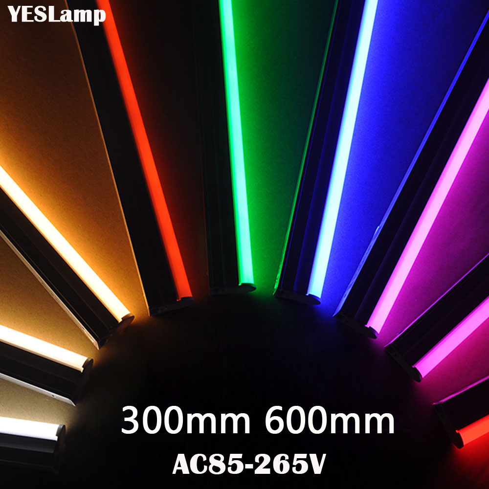 LED Tube T5 Lamp 110V 220V 230V 240V  With Switch Tube 30cm 60cm 6W 10W LED Wall Lamp Warm Cold White Red Blue Pink Green