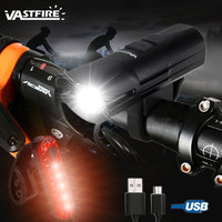 USB Built in Rechargeable Battery Bike Light XM L2 U3 LED Cycling Headlight Waterproof Bicycle Lamp with 5 Red LED Taillight