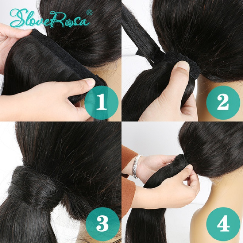 Straight-Ponytail-Brazilian-Hair-With-Full-End-Natural-Black-Color-150g-Remy-Human-Hair-Ponytails-Clip