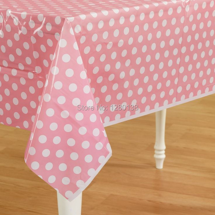Pink Plastic Polka Dot Party Tablecloth Wedding Plastic Table Cover