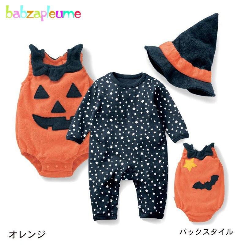 3 шт./0-24months/Хэллоуин тыква комбинезон для детей комплект одежды для мальчиков и девочек с милым рисунком bobysuit + Комбинезоны для малышек + шапк...