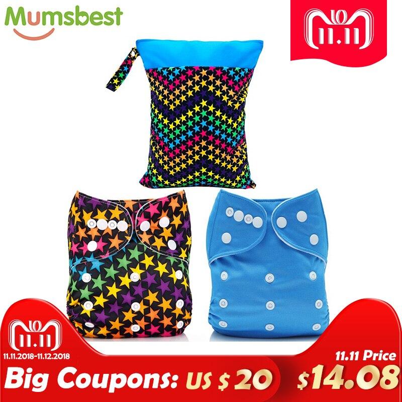 [Mumsbest] 2Pcs Cloth Diapers With 2 Microfiber Inserts +1PC Diaper bag (Wet Bag) Washable Reusable nappies microfiber 8pcs wet