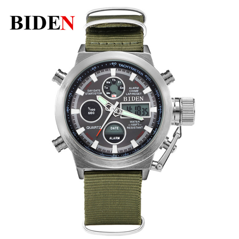 2016 luxury Brand BIDEN Hot Quartz Digital Sports Watch Men Nylon LED Army Waterproof Diving Wristwatch Reloj Hombre