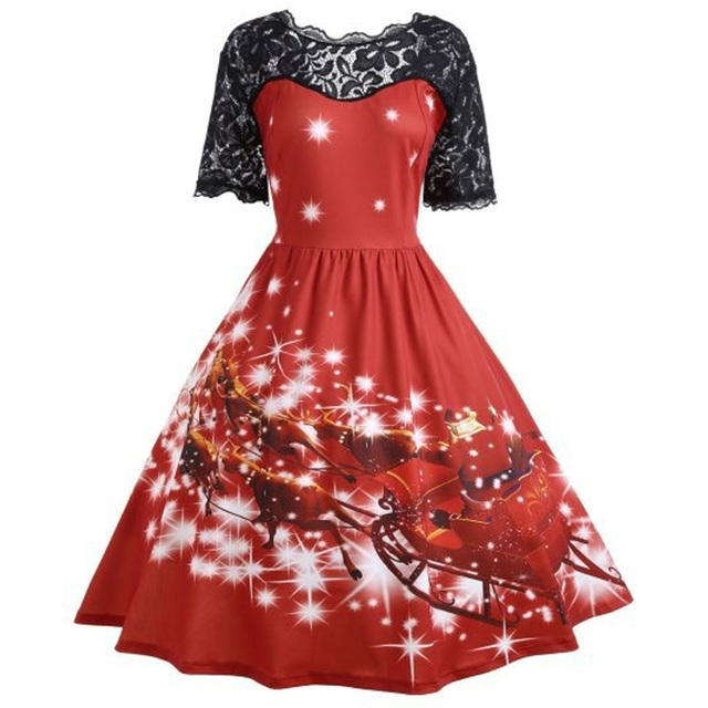 a6afe0e9a215 Kenancy 3XL Christmas Print Lace Women Vintage Dress Plus Size Hepburn  Retro Rockabilly Swing Dress Feminino Robe Party Vestidos