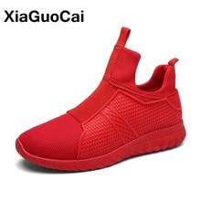 Xiaguocai 2017 высокие Мужская обувь Демисезонный летать ткать Мужские лёгкие ботинки дышащая скольжения на Красной сетки Обувь для мужчин X79 65
