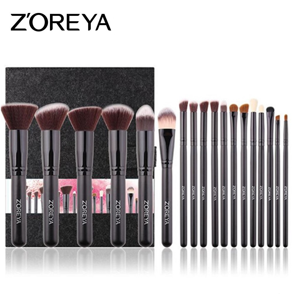 ZOREYA 18pcs Makeup Brushes Set Make Up Brush Cosmetic Kits for Makeup Powder Blush Foundation Eyebrow Brush Maquiagem zoreya 9pcs professional portable makeup brushes sets kolinsky hair foundation powder blush make up brush cosmetic tools pinceis