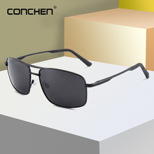 цены CONCHEN Pilot Men Sunglasses For Driving UV400&Polarized Lens Retro Rectangle Alloy Frame Fishing Sunglasses 2019