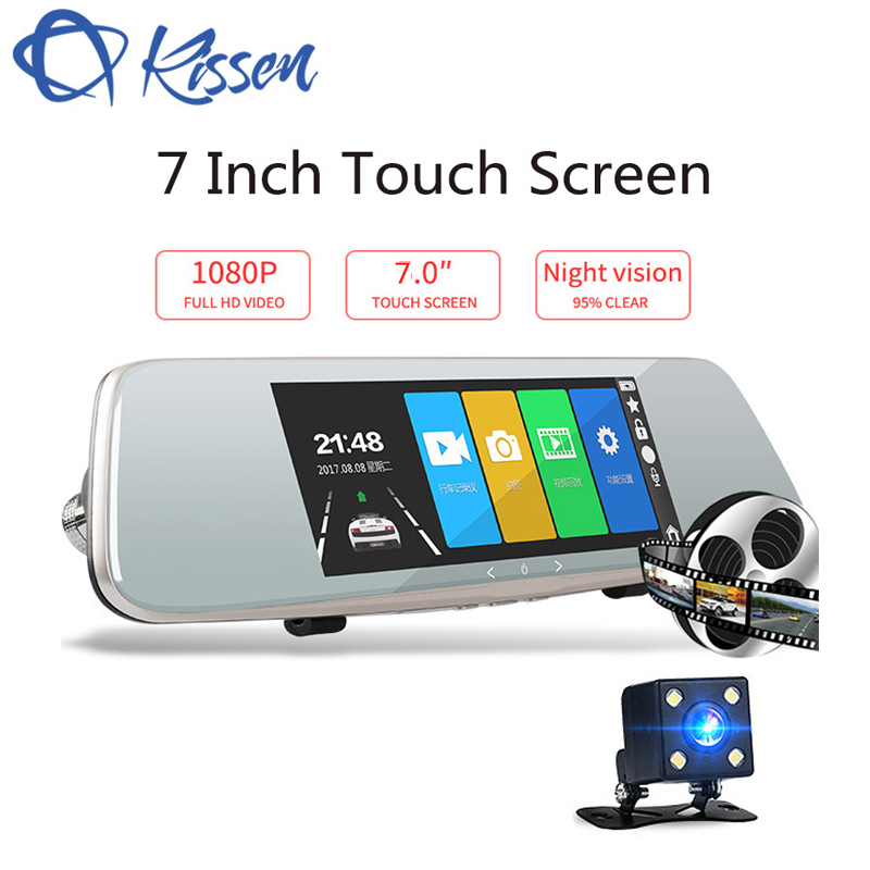 Kissen Full HD 1080P 7 inch Dash Cam DVR Dash Camera Rearview Mirror Touch Screen Dual Lens Video Recorder Auto Car Camera DVR цена