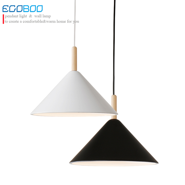 Modern Wood Pendant Lights Lamparas Black White Iron Lamp Shade Luminaire  Dining Room Lights Pendant Lamp