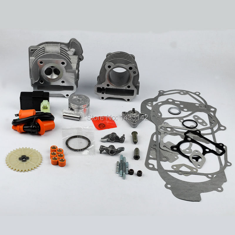 цена на 50mm Big Bore Ring Gasket Kit Set+Racing Ignition Coil+Racing CDI 6 pins For 139QMB & 1P39QMB /GY6 50cc 100cc 4 Stroke Scooters