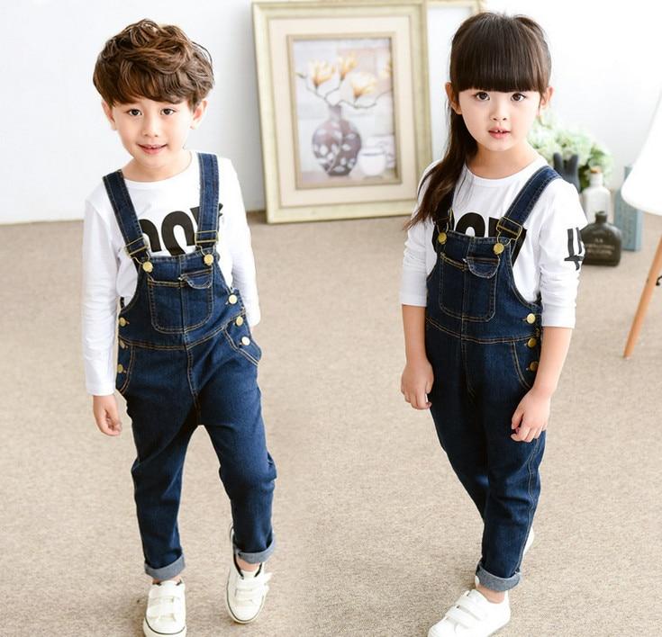 e6be6a1b28ec2 2016 Nouvelles Filles Garçons Denim Salopettes Enfants Mode Enfants  Bretelles pantalon Enfants Vêtements de Haute qualité Enfants portent des  Vêtements