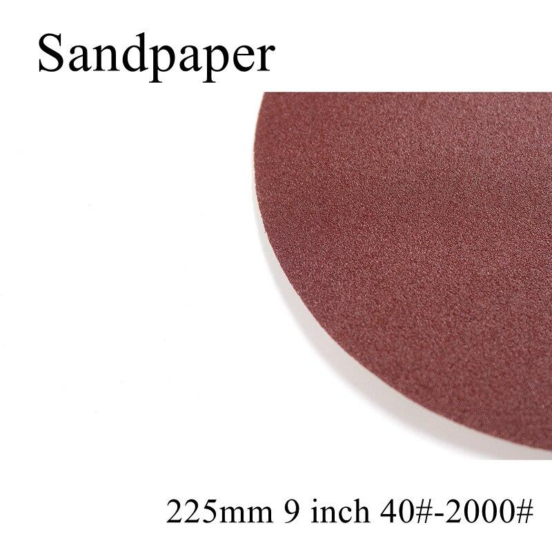 10pcs/lot 225mm 9 Inch 40-2000 Grit Round Sandpaper Disk Sand Sheets Holder Sanding Disc For Sander Grits Polishing Abrasive