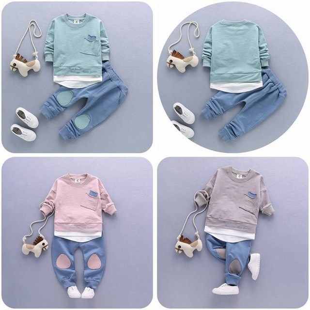 2PC Toddler Baby Boys Clothes Outfit Infant Boy Kids Shirt Tops+Pants Casual Clothing Autumn/Summer Children Clothing 1-4Years 5