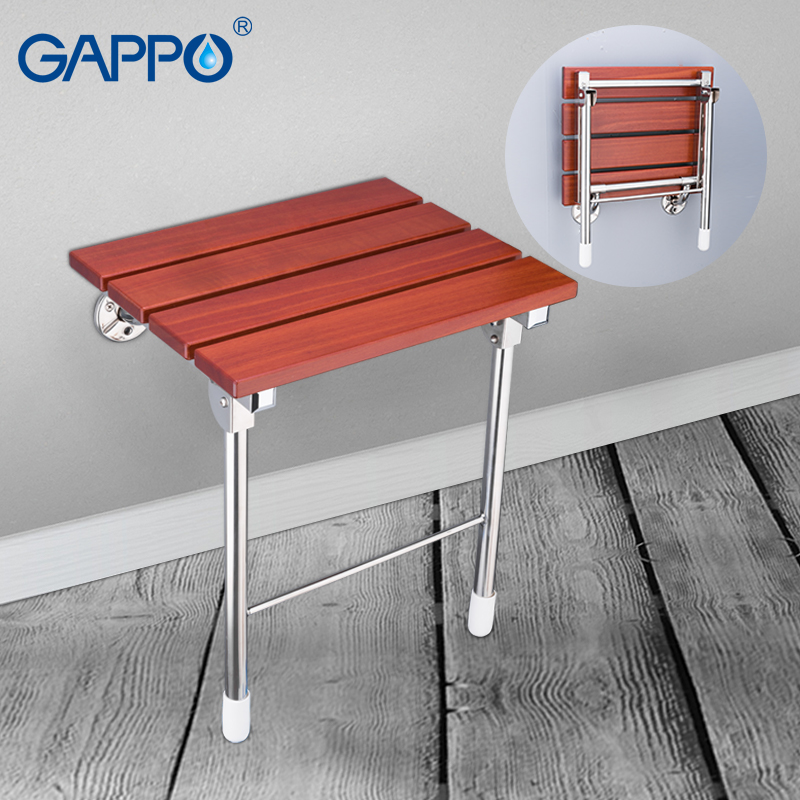 GAPPO Wall Mounted Shower Seats wall mounted bathroom chair folding bath seat solid wood stainless steel bench wall chairs gappo wall mounted shower seats wall mounted bathroom chair folding bath seat wood and aluminium alloy bench shower chairs