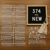 Felt Cloth Wooden Decorative Boards Family Message Board With 374 Pcs White Letters Emoji Symbols Bar Decor Craft 10*10 Inch