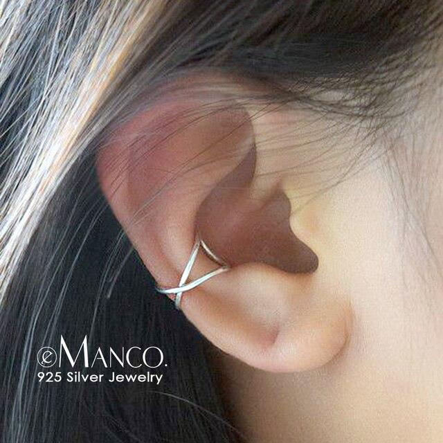 E-Manco Cartilagem Da Orelha de Jóias 925 Prata Esterlina Brincos Para Mulheres Clipe Simples Clip On Brinco Não Piercing Brincos jóias