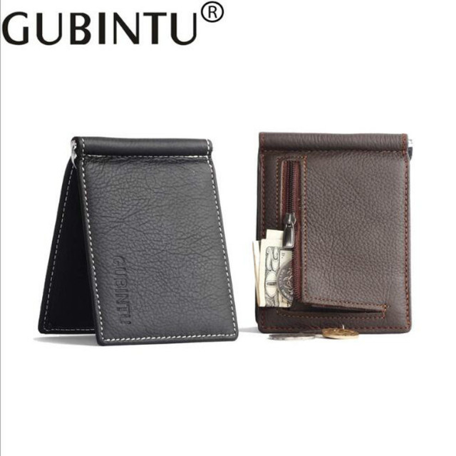 Fashion Unisex Genuine Leather Money Clips 2018 Black Brown 2 Folded Open Clamp For Money With Zipper Coin Pocket Free Shipping