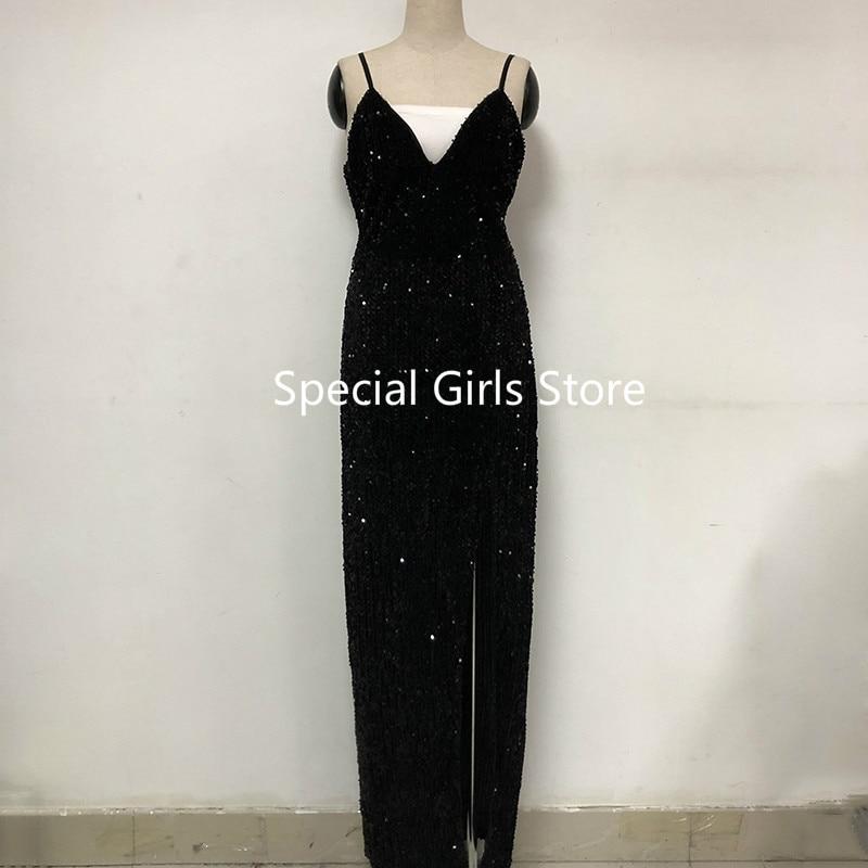 Sleeveless long sequin dress Women high slit spaghetti strap dresses Sexy V neck club party dress Maxi black sequined vestidos 2