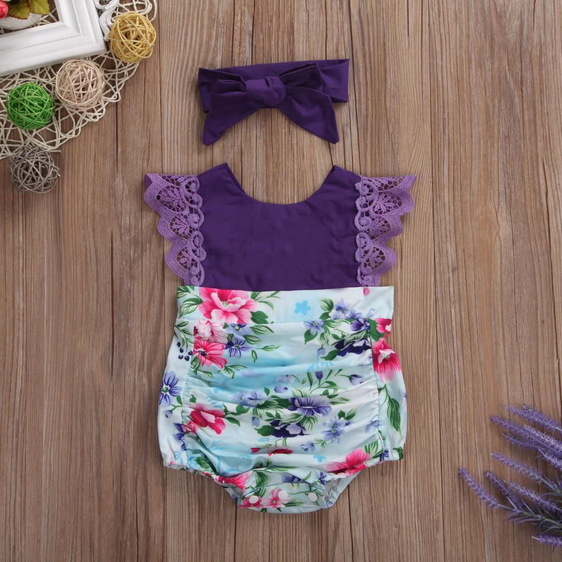 566c1ede1dc1 Princess 2Pcs Purple Flower Sister Matching Newborn Baby Jumpsuit ...