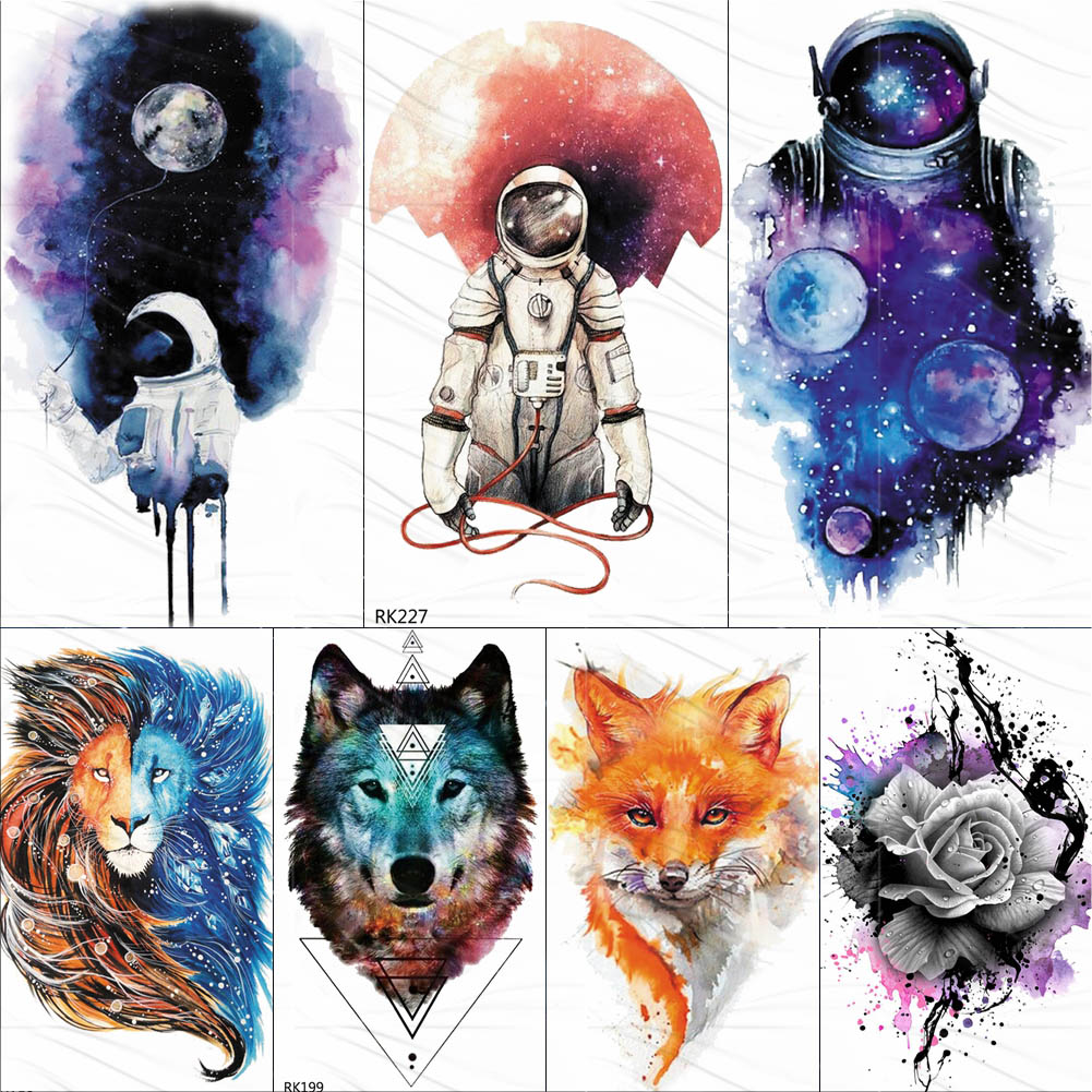 Watercolor Astronaut Universe Temporary Tattoos Sticker For Kids Fake Tattoo Planets Star Tatoos Children Waterproof Space Man(China)