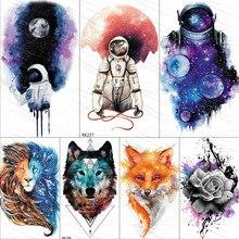 Акварельные Временные татуировки космонавта Вселенная, наклейки для детей, поддельные тату планеты звезды, Детские водостойкие космические татуировки