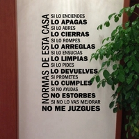 Spanish House Rules Vinyl Wall Decals Wall Sticker Home Decor Family Quote In Spanish House Decoration