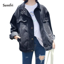 Semfri Black Denim Jacket Women Vintage Jean Coat with Tow Pocket Long Sleeves Warm Jeans Outerwear 2019 Fashion Clothes