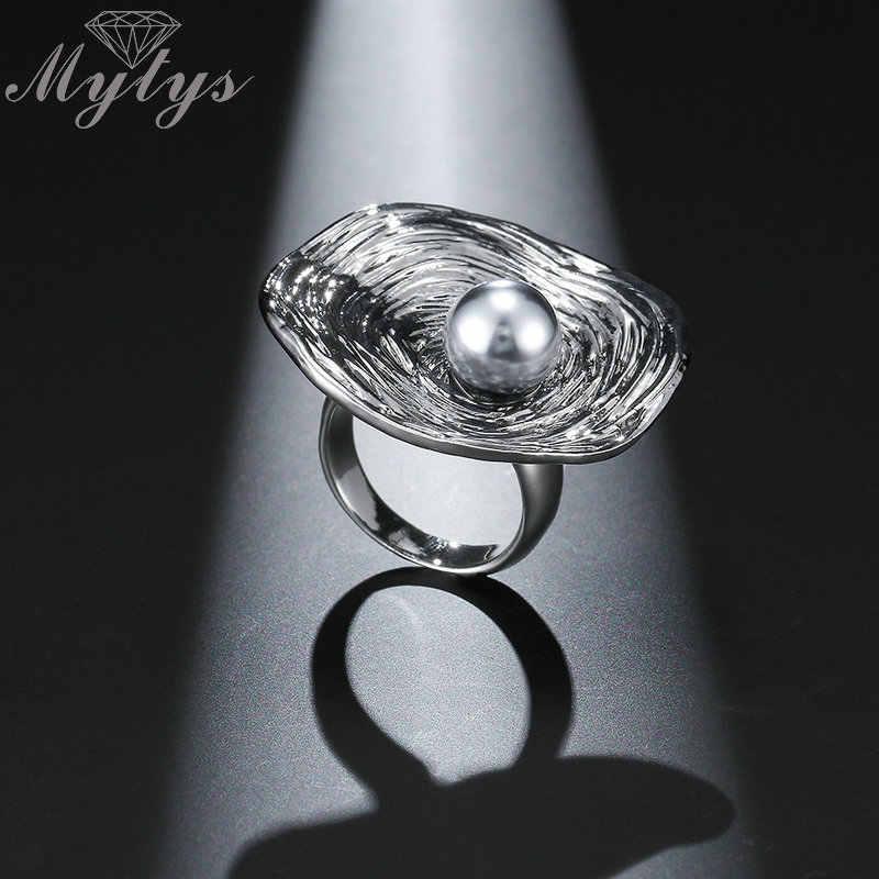 Mytys большое круглое кольцо для Для женщин ретро геометрический сверкающих серебряных Цвет черный жемчуг украшения кольцо подарок ювелирные изделия r1990