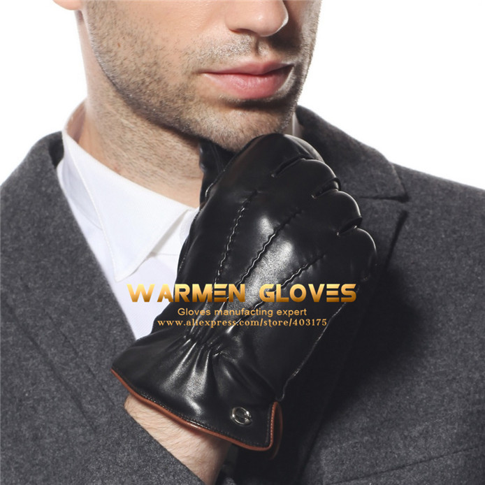 Men/'s Nappa leather Gloves fleece lining+Thinsulate quilted elasticated cuff