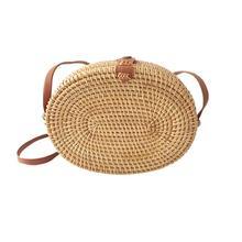 Handmade Oval Rattan Woven Bag Fashion Messenger Bags Vacation Travel Beach Natural Bamboo Handbag For Women