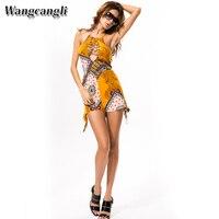 Wangcangli 2017 Europe And America Style Hot Style Set Head Bohemian Beach Print Loose Waist Halter